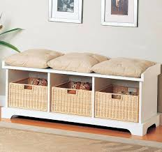 small rustic storage bench wooden storage bench with cushion