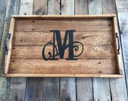 monogrammed wooden serving tray serving tray reclaimed wood