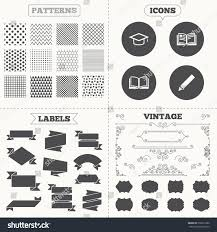 graduation caps for sale seamless patterns sale tags labels pencil stock vector 276811880