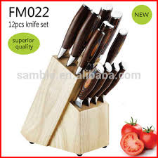 12pcs high quality kitchen knife set deluxe pakka wood handle with