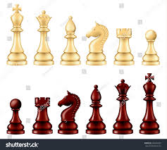 White Chess Set Wooden Chess Pieces Set Two Versions Stock Vector 586604957