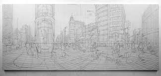 an artist uses architectural sketches to paint city scenes curbed ny