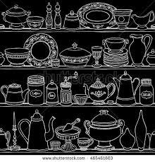 hand drawn vector illustration shabbychic kitchen stock vector