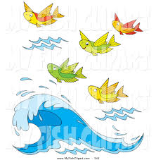 clip art of a group of colorful flying fish above a crashing wave