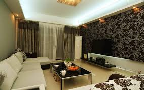wooden wall design for living room with brown leather sofa and