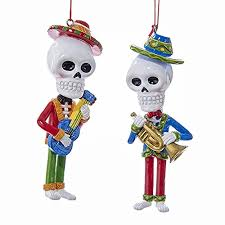 day of the dead skeleton with guitar and trumpet