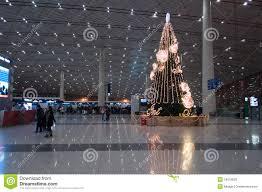 christmas tree in beijing capital international airport editorial