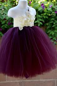 flower dress eggplant plum ivory tutu dress baby tutu dress