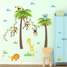 stickers animaux chambre bébé forêt animaux girafe singe palmier stickers muraux pour enfants