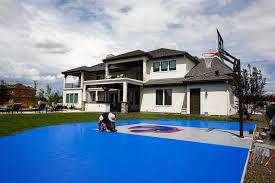 bryan harsin u0027s backyard court bosie blue and orange court