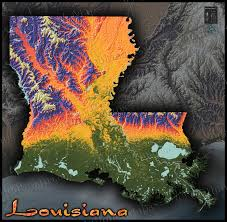 Louisiana State Map by Louisiana Physical Map Colorful 3d Terrain U0026 Topography