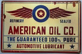 deco plaque metal tole épaisse american oil co 44cm deco garage usa