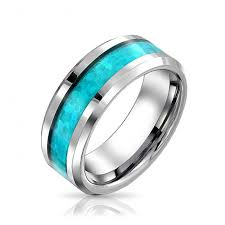mens blue wedding bands mens blue opal look inlay tungsten wedding band ring