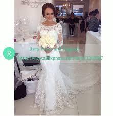 turmec wedding dresses long sleeve lace mermaid