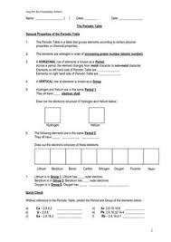 periodic table trends worksheet answers periodic table