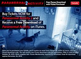 buy a ticket for u0027paranormal 2 u0027 get a free download code for