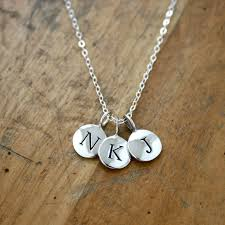 silver letter necklace pendants images Round initial necklace pendant la necklace jpg