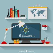 designer s office flat illustration vector free