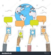 World Globe Map Social Media Communication World Globe Map Stock Vector 370696916
