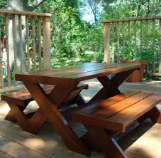 Plans For Picnic Table With Attached Benches by Ana White Build A Modern Kid U0027s Picnic Table Or X Benches Diy