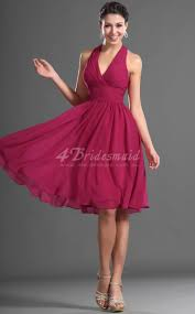 fuschia bridesmaid dress a line halter mini fuchsia chiffon bridesmaid dresses bd423