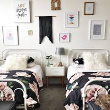 lovable teen shared room with wood loft bed and wall sticker decor mesmerizing shared girl bedroom with vintage sheets and