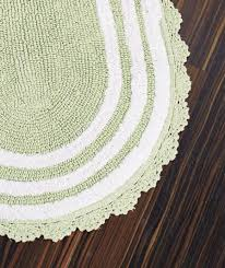 new reversible luxurious crocheted border oval cotton bath rug 24