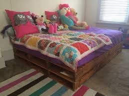 Pallet Bed Furniture Ideas Mercy U0027s Full Size Pallet Bed Sanded And Stained Light Oak