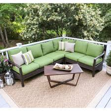 Outdoor Cushions Waterproof Augusta 5 Piece Wicker Outdoor Sectional Set With Red Cushions