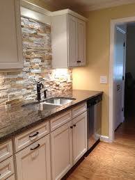 Stone Kitchen Backsplash With White Cabinets Design Inspiration - Layered stone backsplash