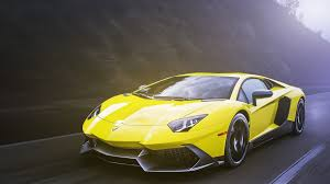 yellow lamborghini bright yellow lamborghini on the highway wallpapers and images