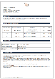 Sample For Resume For Job by Resume Format For Freshers Engineers Mechanical Rat Haus Reality