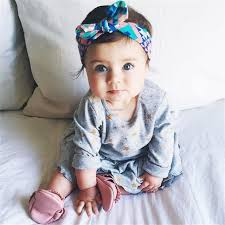 fashion baby girl headwraps top knot printed headband children