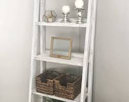 Walnut Ladder Bookcase Ladder Shelf Etsy