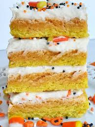 halloween candy cake candy corn sugar cookie bars together as family