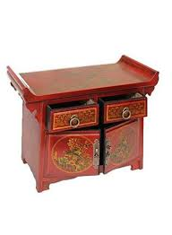 chinese butterfly painted small cupboard bedside oriental