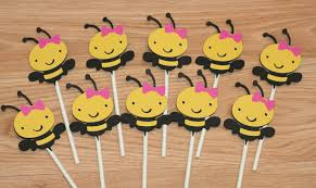 12 bee cupcake toppers bumble bee cupcake toppers