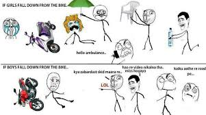 Bike Meme - if girls boys fall down from bike funny meme funny memes