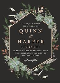 invitation designs succulent surround customizable foil pressed wedding