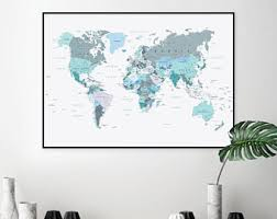 printable world map a1 downloadable blush pink and hunter green world map large