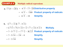 example 6 multiply radical expressions a simplify 4 u2013 5