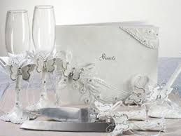 wedding guest book set butterfly wedding guest book pen flutes cake server set
