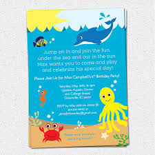 Invitation Cards For Birthday Party For Boys Under The Sea Birthday Party Invitations Cimvitation