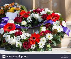 colourful fresh floral wreaths for anzac day memorial celebrations