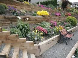 sloped backyard landscaped with railroad ties u2013 outside