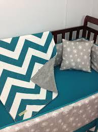 teal crib bedding lila aqua chevron bumperless crib bedding