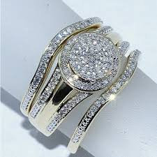 engagement and wedding ring set wedding ring set 3 0 33ct w halo engagement ring and 2