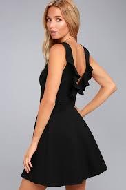 cute black dress skater dress backless dress lbd