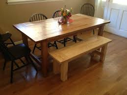 clear coating wooden bench with rectangle dining table combined