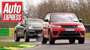 land rover track range rover sport svr vs porsche cayenne turbo track battle youtube